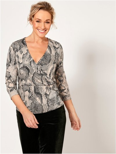 Spirit snake print wrap top