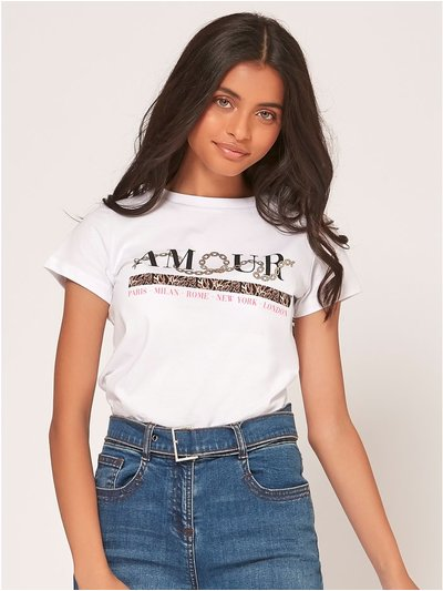 Teen amour slogan t-shirt