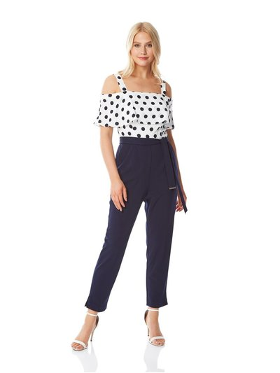 Roman Originals polka dot print cold shoulder jumpsuit