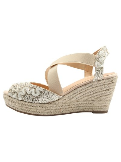 Sleeker glitter cross strap wedge