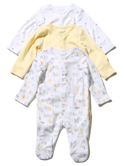 Alphabet sleepsuits three pack (Tiny baby - 18 mths)