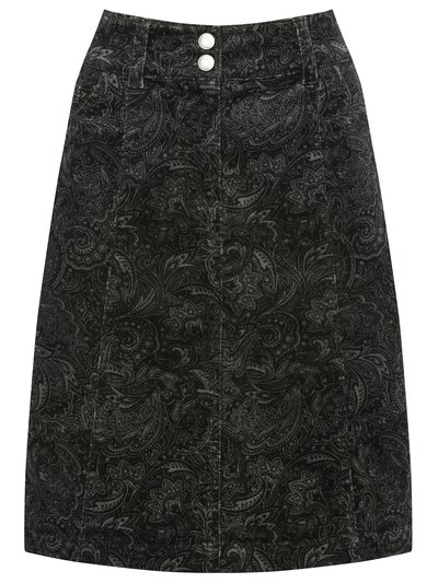 A line floral print cord skirt