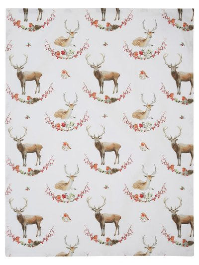 Stag and robin wreath tea towel