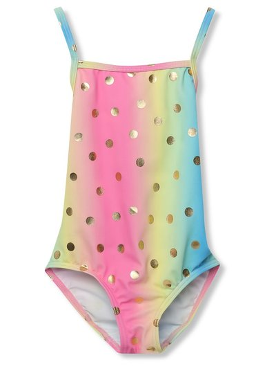 Gold foil ombre rainbow swimsuit (3-12yrs)