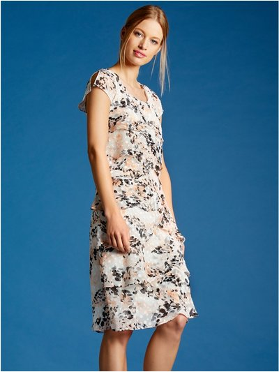 Blurred spot print chiffon shutter dress