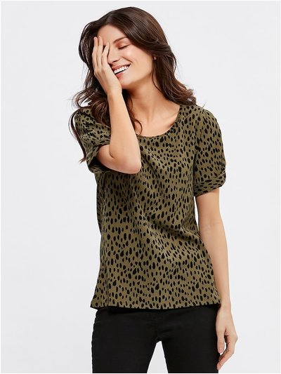 Animal print twist sleeve top