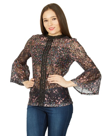 Izabel sheer embroidered floral shirt