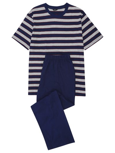 Navy striped t-shirt pyjama set