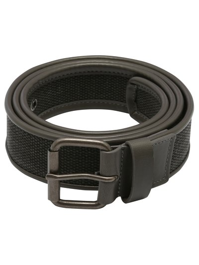 Canvas faux leather trim belt