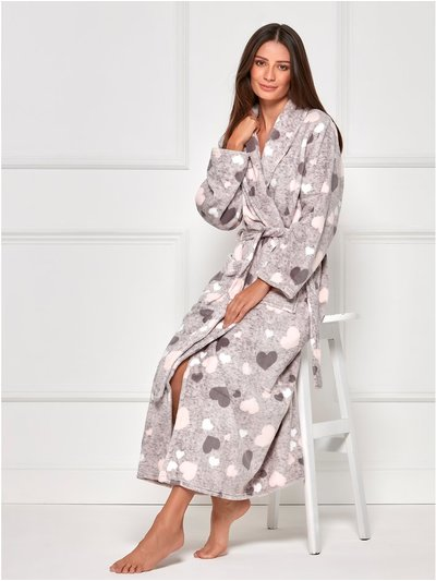 Heart fleece full length dressing gown