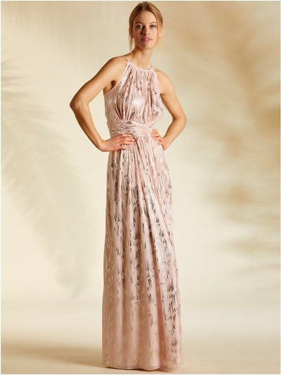 Foil halterneck maxi dress