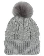Shimmer cable knit faux fur pom pom hat