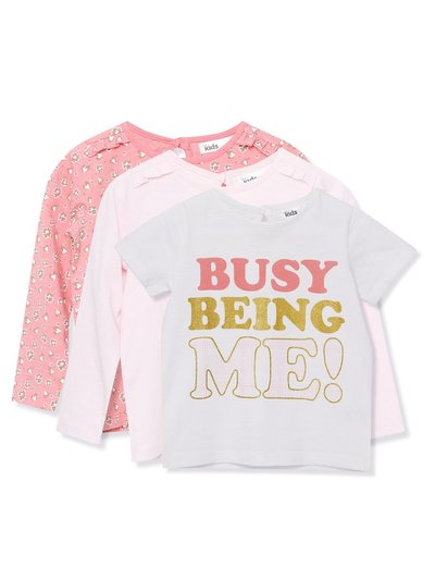 Slogan floral t-shirts three pack (9mths-5yrs)