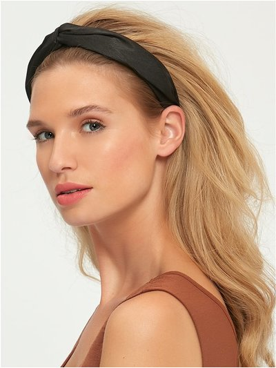 Muse black shimmer fabric covered headband