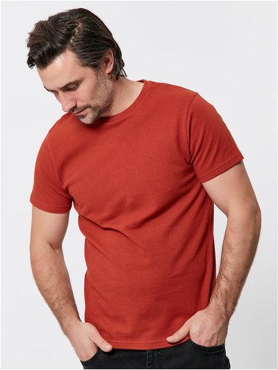Textured crew neck t-shirt