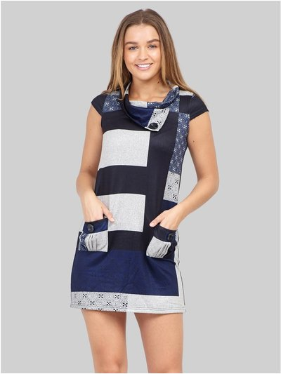 Izabel patchwork knitted dress