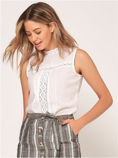 Petite lace high neck top