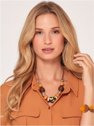 Muse ochre short beaded necklace