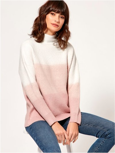 Ombre funnel neck jumper
