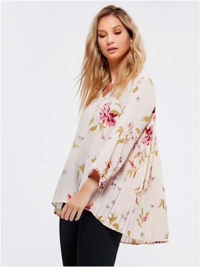 Pleat back floral top
