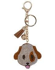 Teens' diamante dog keyring