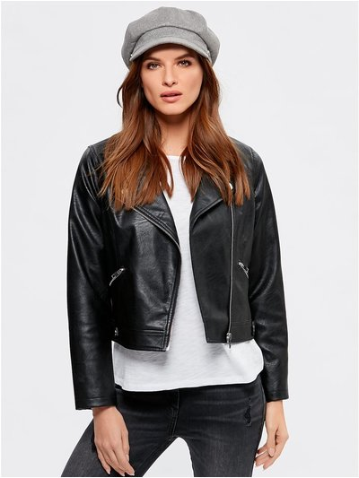 Petite faux leather biker jacket