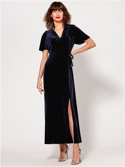 Velvet stud embellished maxi dress