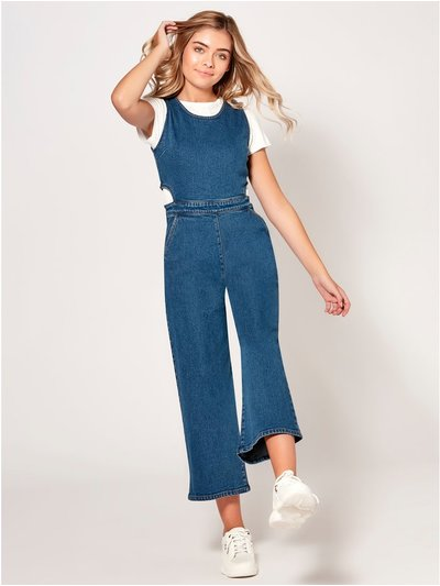 Teen cut out denim jumpsuit