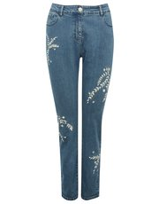 Floral leaf embroidered jeans