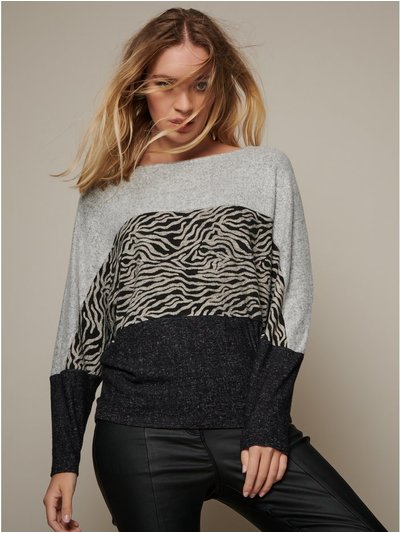 Sonder Studio animal colour block top