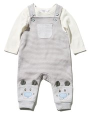 Striped bear dungarees and top set