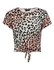 Teen animal print tie t-shirt