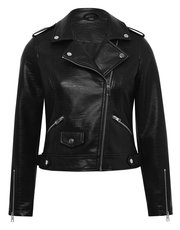 Croc faux leather biker jacket