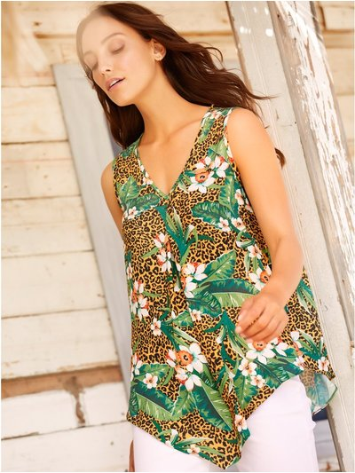 Tropical animal print hanky hem top