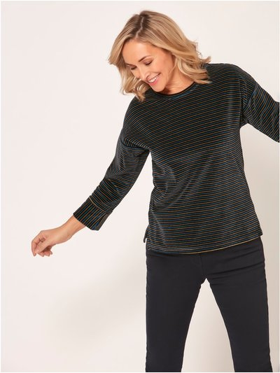 Spirit narrow stripe velour top