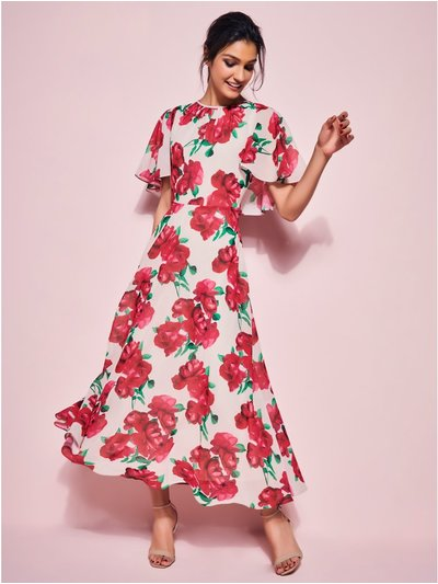 GLAMOUR rose cape midi dress