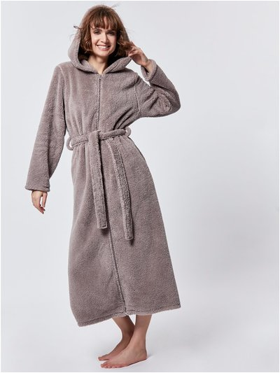 Zip through dressing gown