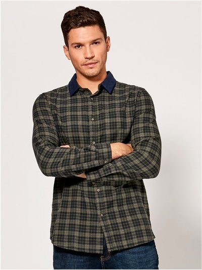 Cord collar checked shirt
