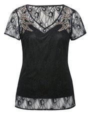 Feather embellished lace top