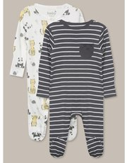 Panda sleepsuits two pack