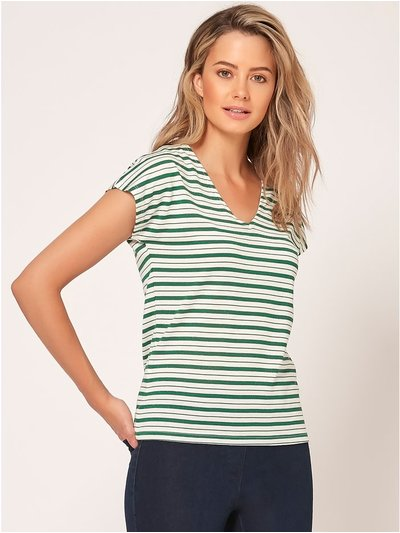 Petite stripe ring back t-shirt