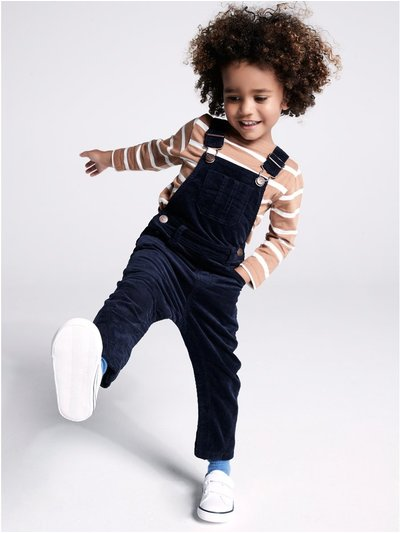 Cord dungarees and stripe top set (9mths-3yrs)