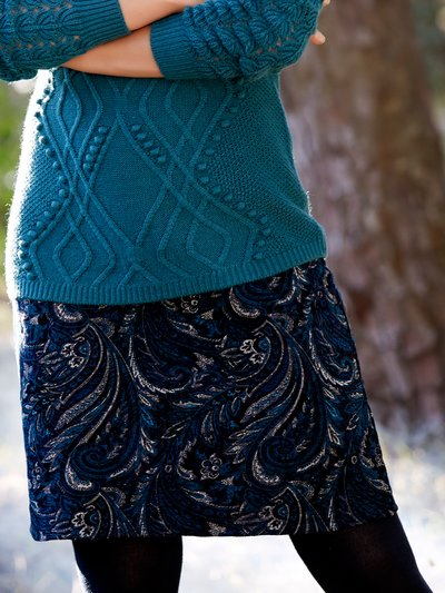 Flocked paisley A-line skirt