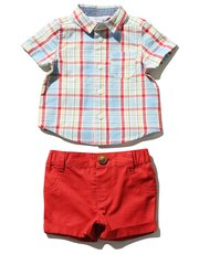 Check shirt and shorts set