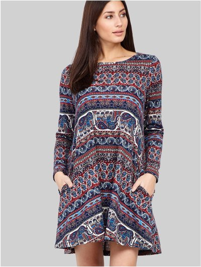 Izabel eastern print swing dress