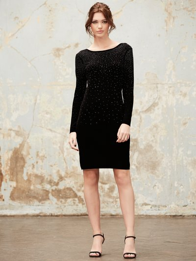 Embellished knit shift dress