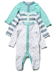 Elephant star and stripe sleepsuits three pack