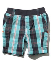 Blue and red check shorts