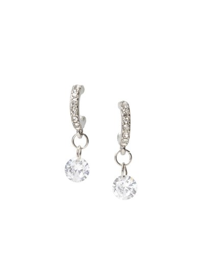 CZ Silver Crystal Hoops