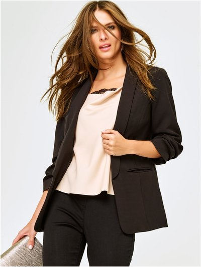 Petite ruched sleeve blazer